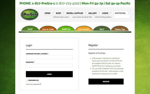 Screenshot of Login Page pregra.com - My Account   PreGra.COM Artificial Grass - captured Sept. 30, 2014
