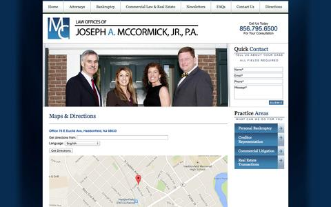 Screenshot of Maps & Directions Page mccormicknjlaw.com - Find a Law Firm in Haddonfield, New Jersey for Bankruptcy or Commercial Real Estate - Joseph A. McCormick, Jr., P.A. - captured Oct. 6, 2014