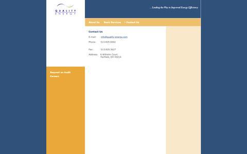 Screenshot of Contact Page quality-energy.com - Contact Quality Energy � power quality savings efficiency - captured Sept. 28, 2018