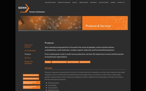 Screenshot of Products Page sennchem.com - Products | Senn Chemicals - captured Oct. 4, 2014