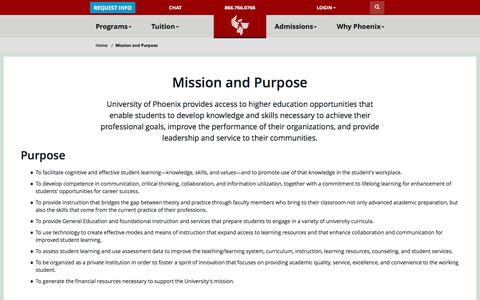 Screenshot of phoenix.edu - Mission and Purpose - University of Phoenix - captured June 3, 2016