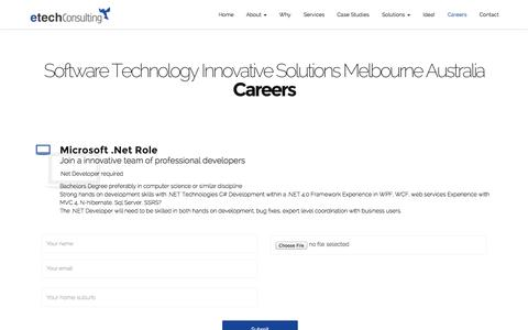 Screenshot of Jobs Page etechconsulting.com.au - Careers in Information Technology in Melbourne for Software Developers - captured Nov. 2, 2014