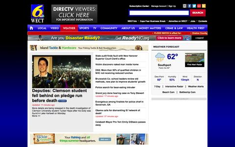 Screenshot of Home Page wect.com - WECT TV6: News and Weather for Wilmington, NC; WECT.com - WECT TV6-WECT.com:News, weather & sports Wilmington, NC - captured Sept. 24, 2014