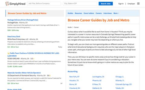 Screenshot of Jobs Page simplyhired.com - Career Guides for all Jobs and Metros | SimplyHired | SimplyHired - captured July 20, 2019