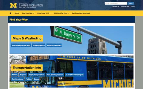 Screenshot of Maps & Directions Page umich.edu - Find Your Way | Campus Information - captured Nov. 13, 2016