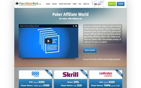 Screenshot of Home Page pokeraffiliateworld.com - Poker Affiliate World - best paying affiliate programs | PokerAffiliateWorld.com - captured Sept. 18, 2014