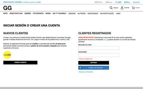 Screenshot of Login Page ggili.com - Identificador de cliente - Editorial GG - captured Oct. 25, 2017