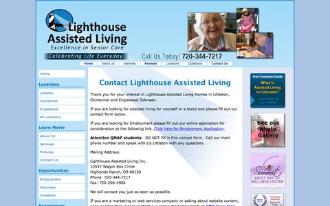 Screenshot of Contact Page lighthouseassistedliving.com - Contact Assisted Living Littleton   Lighthouse Assisted Living - captured Aug. 10, 2017
