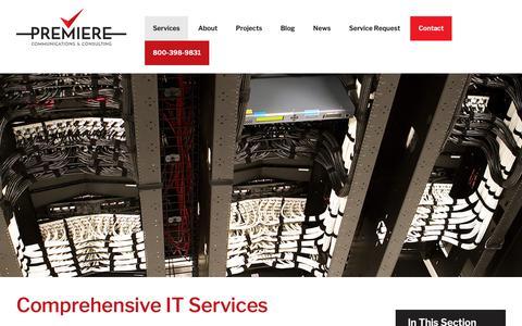 Screenshot of Services Page premiere-inc.com - Comprehensive IT Services   Premiere Communications & Consulting - captured Nov. 11, 2018