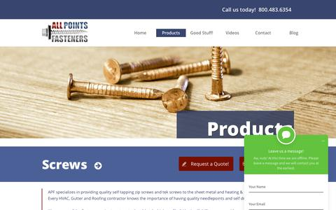 Screenshot of Products Page allpointsfasteners.com - Fasteners For Sale - All Points Fasteners - captured Dec. 9, 2018