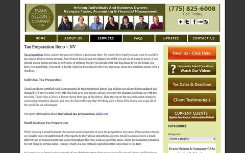 Screenshot of Services Page encpas.com - Tax Preparation Reno | Evans Nelson And Company - captured Jan. 9, 2017