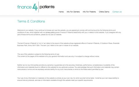 Screenshot of Terms Page finance4patients.com - Terms & Conditions   Finance4Patients - captured Sept. 30, 2014