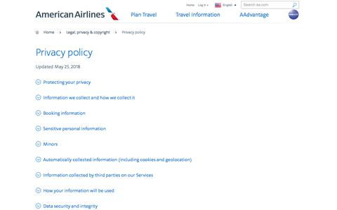 Privacy policy − Support − American Airlines