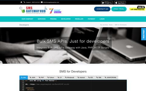 Screenshot of Developers Page smsgatewayhub.com - Bulk SMS API, Bulk SMS API, HTTP's API, API key provider for customized integration - captured Sept. 30, 2017