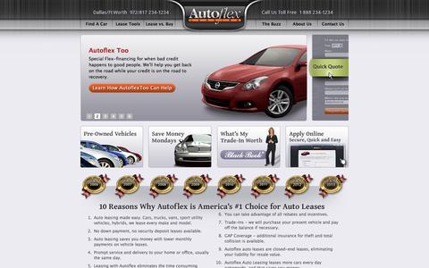 Screenshot of Home Page autoflex.com - Autoflex Auto Leasing, Dallas, Ft Worth TX, National Auto Leases - captured Sept. 22, 2014