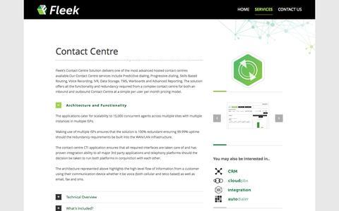 Screenshot of Services Page fleek.co.za - Fleek   –  Contact Centre - captured Nov. 3, 2014