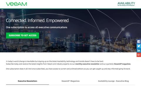 Screenshot of Landing Page veeam.com - Availability industry leaders and experts newsletters - captured Feb. 14, 2018