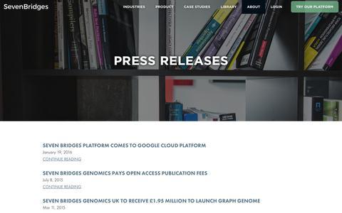 Screenshot of Press Page sbgenomics.com - Seven Bridges - Press - captured Feb. 14, 2016