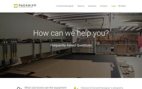 Screenshot of FAQ Page packsize.com - FAQs - Packsize® - captured Nov. 20, 2016