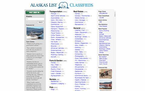 Screenshot of Home Page alaskaslist.com - Alaska's List - captured Sept. 19, 2014