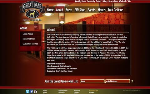 Screenshot of About Page greatdanepub.com - About | Great Dane Pub - captured Oct. 3, 2014