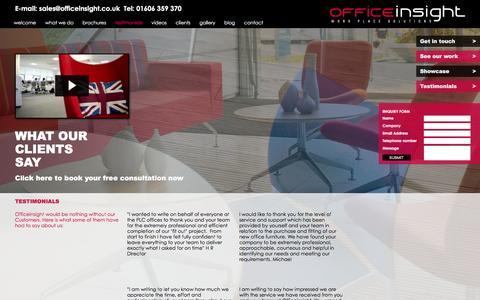 Screenshot of Testimonials Page officeinsight.co.uk - Officeinsight | Testemonials - captured Jan. 10, 2016
