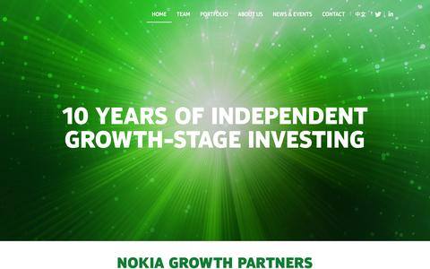 Screenshot of Home Page nokiagrowthpartners.com - Investing in growth-stage companies |Nokia Growth Partners - captured Dec. 1, 2015
