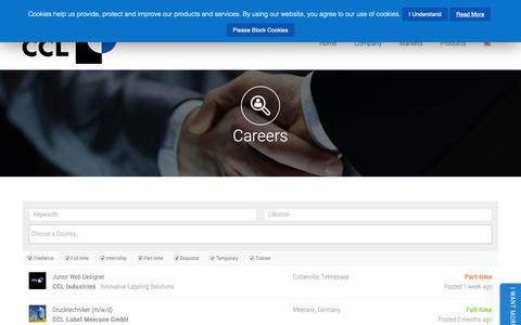 Screenshot of Jobs Page ccllabel.com - Global Career Opportunities   Careers   CCL Industries - captured June 8, 2019