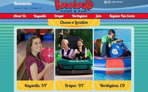Screenshot of Home Page boondocks.com - Boondocks Food & Fun - Welcome! - captured Jan. 20, 2016