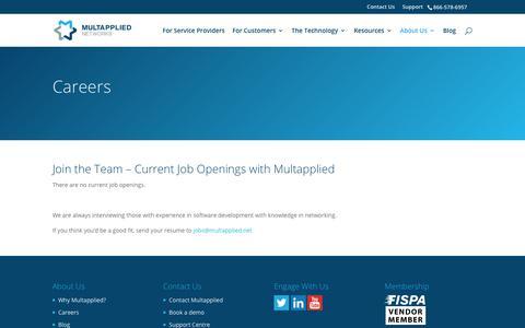 Screenshot of Jobs Page multapplied.net - Multapplied Networks   Multapplied SD-WAN   Virtual WAN Solutions   Careers with Multapplied Networks Inc. - captured Oct. 6, 2018