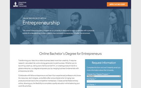 Screenshot of Landing Page apus.edu - Online Bachelor of Arts in Entrepreneurship | American Public University - captured Dec. 23, 2015