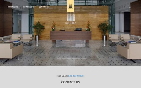 Screenshot of Contact Page sobha.com - Contact Us - captured Nov. 28, 2018