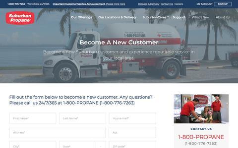 Screenshot of Signup Page suburbanpropane.com - Become A New Customer | Suburban Propane - captured Jan. 25, 2018