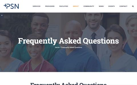 Screenshot of FAQ Page psnmo.net - Frequently Asked Questions - Premier Specialty Network - captured Sept. 29, 2018