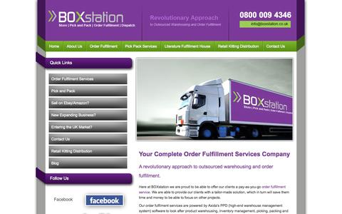 Screenshot of Home Page boxstation.co.uk - Eco-Friendly Order Fulfillment Services | Pick and Pack | Literature Fulfillment Services UK - BOXstation - captured Sept. 30, 2014