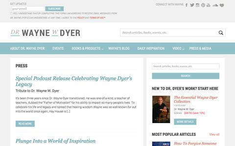 Screenshot of Press Page drwaynedyer.com - Press & News - Dr. Wayne Dyer - captured Sept. 25, 2018
