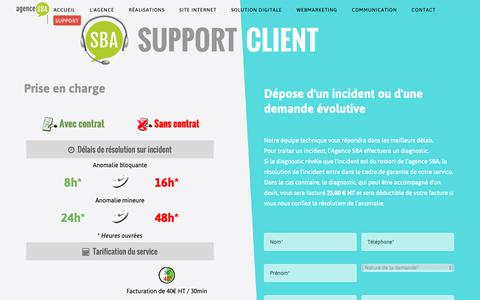 Screenshot of Support Page agence-sba.com - Service Support Client - Agence SBA - Création de sites Internet à Poitiers (86) - captured Oct. 5, 2018