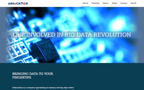 Screenshot of Home Page haducation.com - Haducation. Hadoop and Big Data Learning Center - captured Sept. 3, 2015
