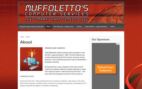 Screenshot of About Page muffolettocs.com - Computer repair valparaiso | Muffoletto's Computer services - captured Oct. 24, 2018