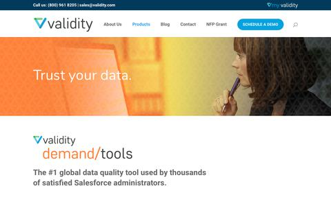Screenshot of Products Page validity.com - DemandTools - The #1 Global Salesforce Data Quality Tool | Validity Inc. - captured Nov. 3, 2018