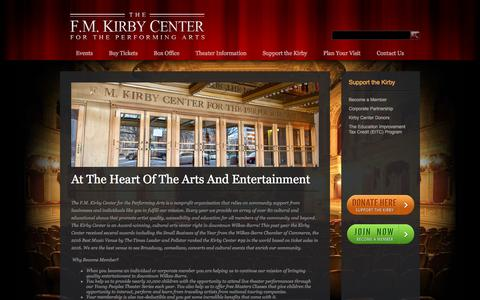 Screenshot of Support Page kirbycenter.org - At The Heart Of The Arts And Entertainment - The F.M. Kirby Center for the Performing Arts - captured Nov. 19, 2016