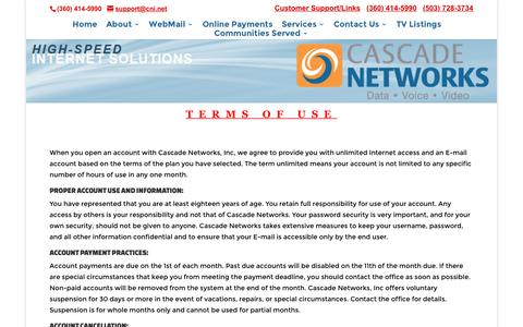 Screenshot of Terms Page cni.net - Terms of Use - Cascade Networks - captured Sept. 30, 2016
