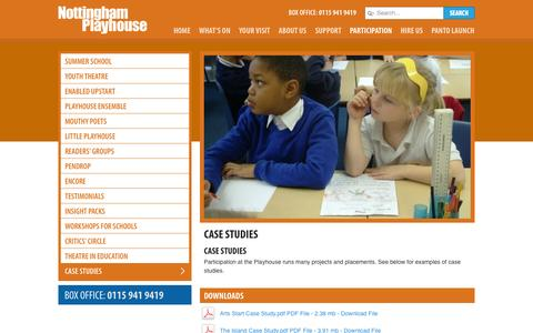 Screenshot of Case Studies Page nottinghamplayhouse.co.uk - Case Studies at Nottingham Playhouse - captured Oct. 7, 2014
