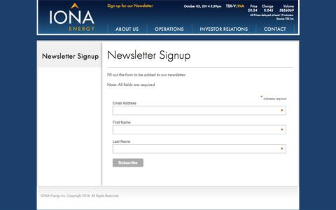Screenshot of Signup Page ionaenergy.com - Newsletter Signup - captured Oct. 6, 2014