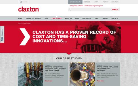 Screenshot of Case Studies Page claxtonengineering.com - Offshore Case Studies | Offshore Engineering - captured Oct. 2, 2014