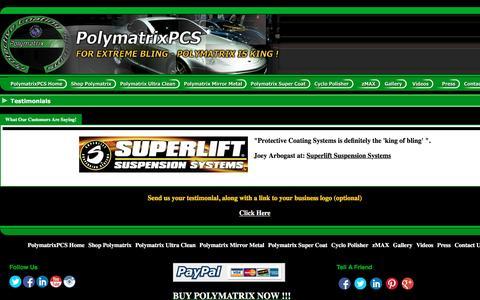 Screenshot of Testimonials Page protectivecoatingsystems.com - PolymatrixPCS - World's Most Advanced Car Care Products - Testimonials - captured May 24, 2017