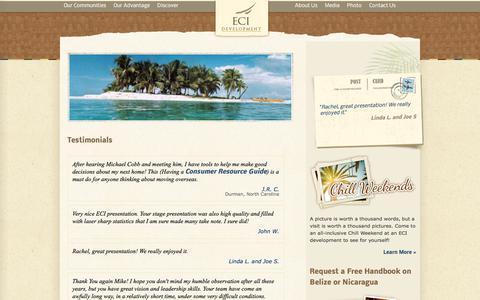 Screenshot of Testimonials Page ecidevelopment.com - ECI Development Community Testimonials - captured July 8, 2017