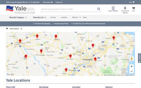 Screenshot of Locations Page yaleelectricsupply.com - Locations in PA & NJ | Yale Electric Supply | Yale Electric Supply - captured Oct. 1, 2018