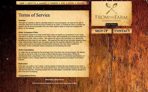 Screenshot of Terms Page fromthefarm.ca - Terms of Service « From the Farm Cooking School - captured Oct. 6, 2014