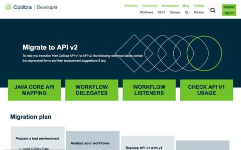Screenshot of Developers Page collibra.com - API v2 Migration Tables | Collibra University - captured Feb. 12, 2020
